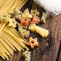 Figured pasta and noodles rice vermicelli close up Royalty Free Stock Photography