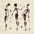 Figures of african dancers. Hand drawn Royalty Free Stock Photo
