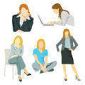 Figures collage of images woman office manager Royalty Free Stock Image
