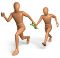 Figures running relay race