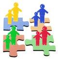 Figures sur des parties de puzzle denteux Photos libres de droits