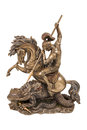Figurine a warrior on horseback fighting the dragon Royalty Free Stock Photo