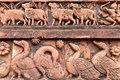 Figurines made of terracotta bishnupur india at madanmohan temple west bengal Royalty Free Stock Photo