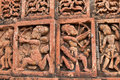 Figurines made of terracotta bishnupur india at madanmohan temple west bengal Royalty Free Stock Image