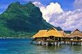 Fiji island huts luxury housing in on posts in lagoon Stock Image