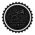 Fiji Map Label with Retro Vintage Styled Design.