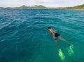 Fijian man snorkeling in Yasawa Island Fiji Royalty Free Stock Photo