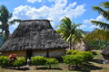 Fijian traditionally built house a common scene from the village called navala Royalty Free Stock Photography