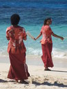 Fijian women welcoming tourists with beads Royalty Free Stock Photography