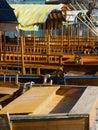 Fila de los barcos de Rowing Imagen de archivo