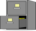 File cabinet cartoon illustration showing a metal with the bottom drawer open Stock Image