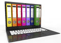 File in database laptop with colored ring binders d image Royalty Free Stock Photo
