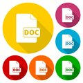 File Doc icons set with long shadow Royalty Free Stock Photo