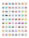 File extension flat vector icons. Archive, vector, audio, image, system, document formats