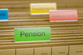 File folder labeled with pension hanging Royalty Free Stock Images