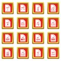 File format icons set red