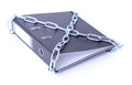 File security concept lever arch chained up Stock Photo