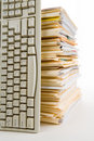 File Stack and Computer Keyboard Stock Photography