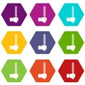 File tool in man head icon set color hexahedron Royalty Free Stock Photo