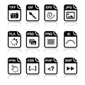 File type black icons - graphic and web design Royalty Free Stock Images