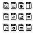 File type black icons with shadow set - zip, pdf, Stock Image