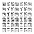 File type icons. Files format icon set in black and white