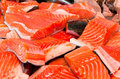 Filet of salmon at fishmarket Royalty Free Stock Photo