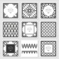 Filigree frames and decorative panels set. Laser cutting design. Wedding invitation. Damask. Vintage. Royalty Free Stock Photo
