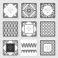 Filigree frames and decorative panels set. Laser cutting design. Wedding invitation. Damask. Vintage.