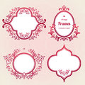 Filigree vector frames in eastern style ornate element for design place for text ornamental red borders for wedding invitations Royalty Free Stock Images