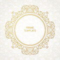 Filigree vector line art frame in eastern style ornate element for design place for text ornamental golden border for wedding Stock Photos