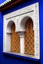 Filigree window in the jardin majorelle in marrakech Stock Photo