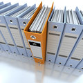 Filing and organizing information blue d rendering of a line of office ring binders with one sticking out Royalty Free Stock Images