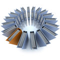 Filing round aerial d rendering of a circular composition of office ring binders view Stock Image