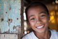Filipina girl portrait of a smiling from impoverished neighborhood in the philippines Royalty Free Stock Photos