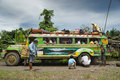 Filipino mountain jeepney breakdown Stock Image