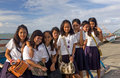 Filipino school girls Stock Photo