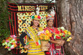 Filipino women wearing costumes two beautiful model traditional ifugao clothing of bright yellow and red woven patterns at mines Royalty Free Stock Image