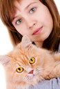 Fille avec un chat Photos libres de droits