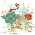 Fille de bicyclette Image libre de droits