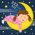 Fille dormant sur la lune Images stock