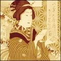 Fille japonaise traditionnelle de geisha Photo stock