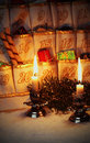 Filled advent calendar by candlelight Royalty Free Stock Photo