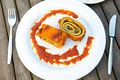 Filled pasta with tomato sauce Royalty Free Stock Photos