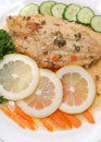 Fillet of fish and side salad Stock Images