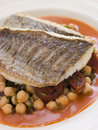 Fillets of Sea Bream with Chorizo Sausage Royalty Free Stock Photo