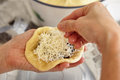 Filling with cheese bread dough grated Royalty Free Stock Photography