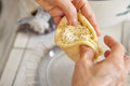 Filling with cheese bread dough grated Royalty Free Stock Image