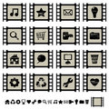 Film cell icons set 1 Royalty Free Stock Photos