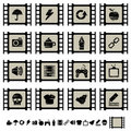 Film cell icons set 2 Royalty Free Stock Photo